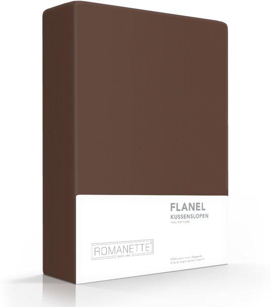 Romanette flanellen kussenslopen (set van 2) - Taupe - 60x70 cm