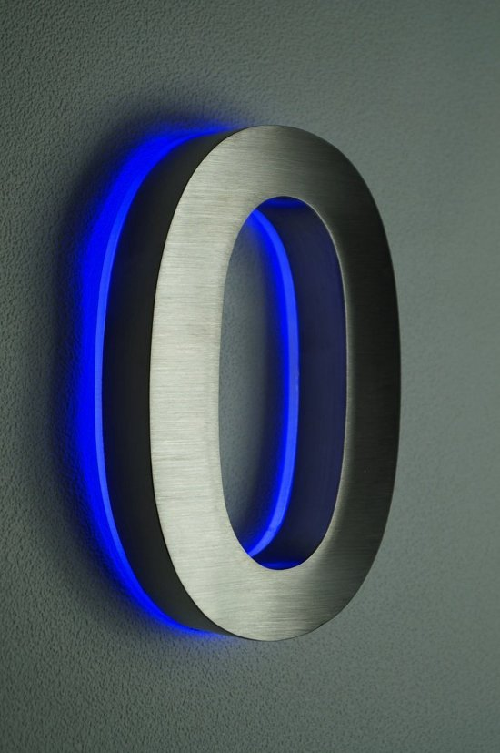 huisnummer met led verlicht van rvs hoogte 20cm nummer 0