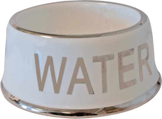 Voerbak Hond Water Wit/Zilver - 18 CM