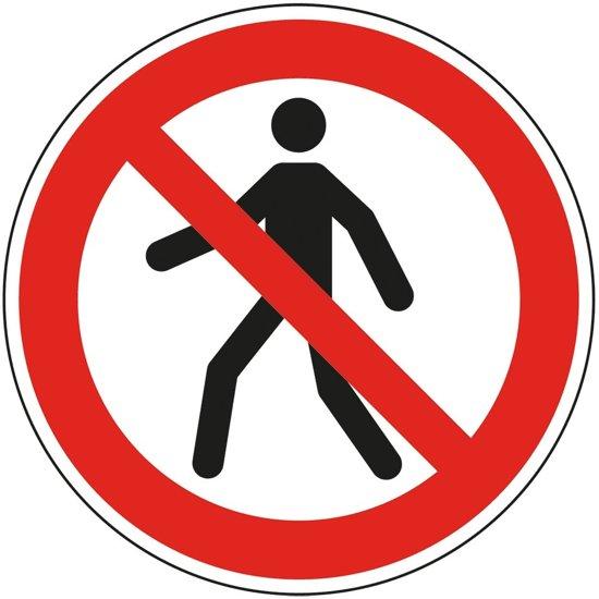 Verbodsbord 'Verboden voor voetgangers', ISO 7010, P004 Ø 200 mm