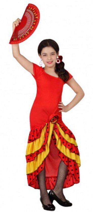 1eaed28f0d16ff Rood met gele Flamenco meisjes jurk 116 (5-6 jaar)