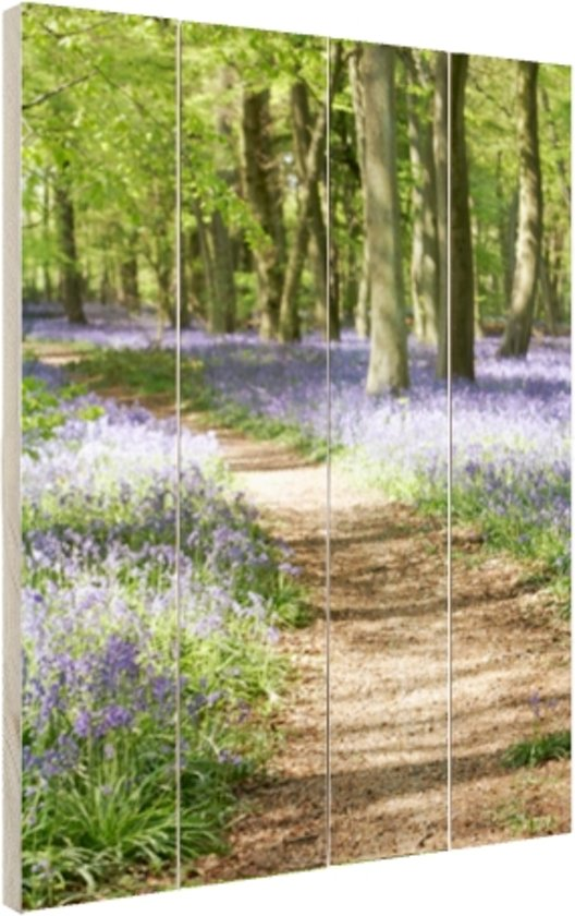 Klokjes die in het bos groeien Hout 20x30 cm - klein - Foto print op Hout (Wanddecoratie)