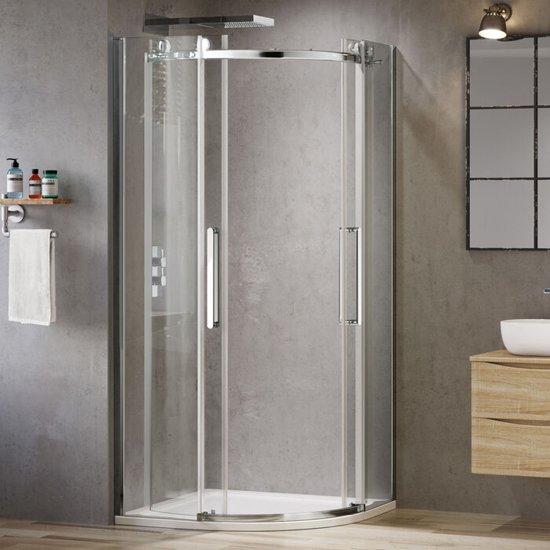Douchecabine Kwartrond 80x80.Douchecabine Kwartrond Schuifdeur Premium Easyclean 8 Mm Glas Profielloos 80 X 80 Cm