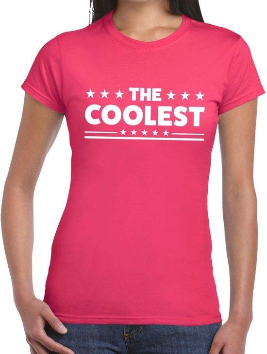 The Coolest tekst t-shirt roze dames - dames shirt  The Coolest XS
