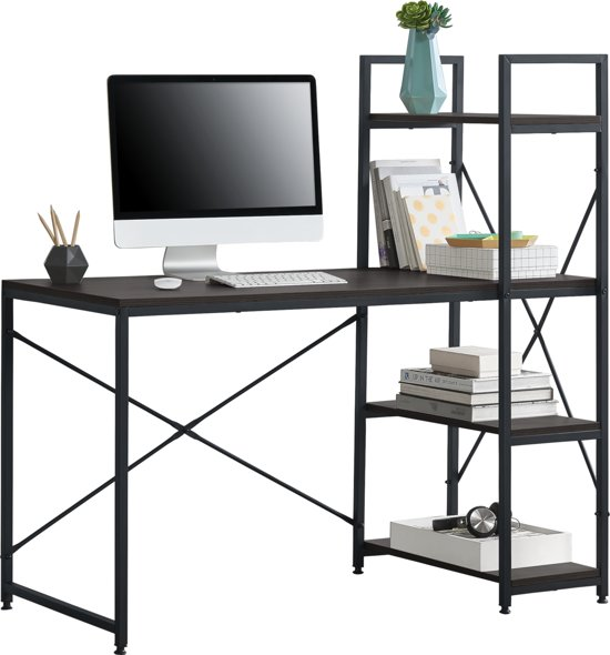 [en.casa] Bureau met 4 planken Stavanger zwart en walnoot