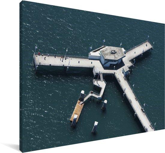 Belmont Veterans Memorial Pier in Long Beach bij de Amerikaanse staat Californië Canvas 140x90 cm - Foto print op Canvas schilderij (Wanddecoratie woonkamer / slaapkamer)