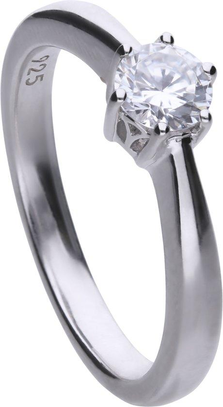 Diamonfire - Zilveren ring met steen Maat 16.5 - Steenmaat 5 mm - Chatonzetting