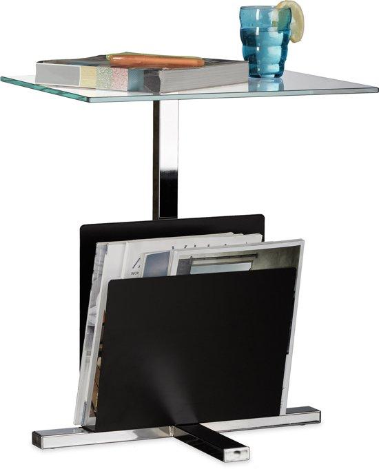 Glazen Bijzettafel Met Lectuurbak.Relaxdays Bijzettafel Met Tijdschriftenrek Glasplaat Glastafel Modern