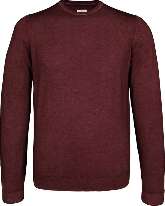 OLYMP Level 5 - heren trui wol - O-hals bordeaux rood (Slim Fit) -  Maat L