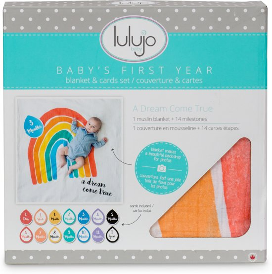 Lulujo Baby's First Year swaddle & cards - A Dream Come True