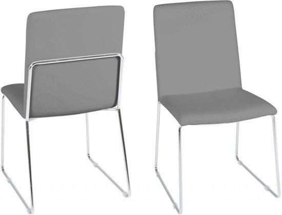 Bol fyn kris eetkamerstoel pu leer grijs set van stoelen