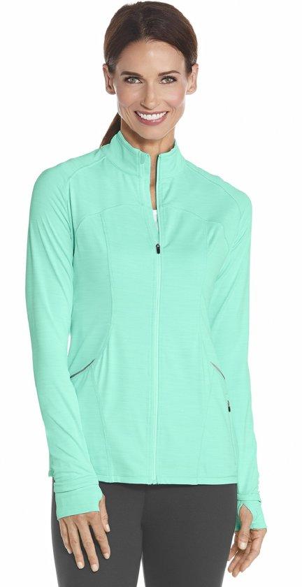 Coolibar UV fitness jasje Dames - Turquoise - Maat XL