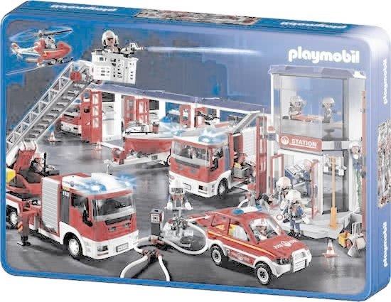 Schmidt Puzzel: Playmobil  Brandweer(Tin Box) - Legpuzzel