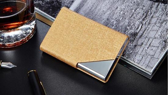 Royal Business® - Luxe Business Card Holder - Goud - Visitekaarthouder - Aluminium - Kaartjes - bedrijfskaart