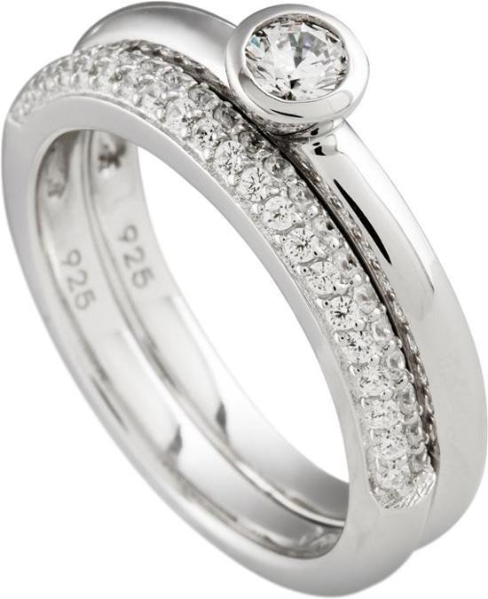 Diamonfire - Zilveren combinatiering Maat 18.0 - Gladde solitaire ring - Pav' bezet