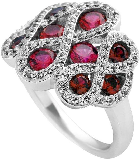 Diamonfire - Zilveren ring met steen Maat 19.0 - Infinity - Pave - Rood
