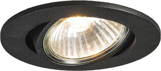 QAZQA Cisco - Inbouwspot - 1 lichts - 90 mm - zwart