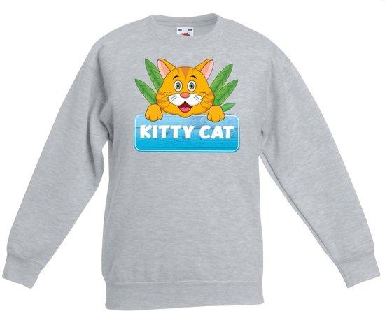 Kitty Cat sweater grijs voor kinderen - unisex - katten / poezen trui 9-11 jaar (134/146)