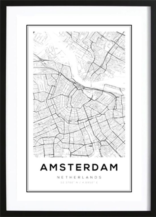 Iets Nieuws bol.com   Amsterdam Kaart Poster - Wallified - Poster - Wall Art #HD71