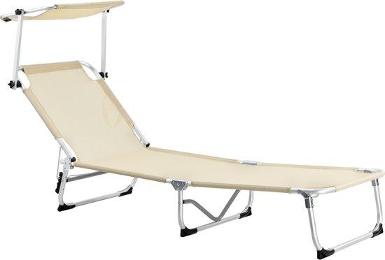 Strandstoel Met Luifel.Ligbed Van Aluminium Inklapbaar Met Luifel Beige