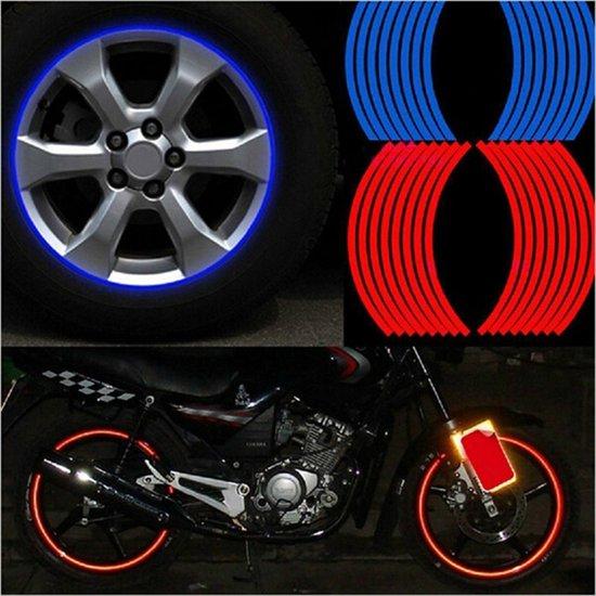 set 16 stuks 14 witte reflectie stickers voor fiets brommer motor en autovelgen nbh. Black Bedroom Furniture Sets. Home Design Ideas