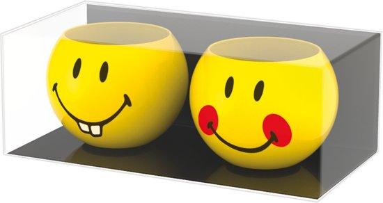 Zak!Designs Smiley 2.0 Eierdopjes - Keramiek - � 6 cm - Set van 2 Stuks - Teeth/Red Cheeck - Geel