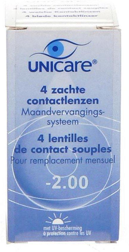 Unicare Maandlenzen -2.00 - 4 pack - Contactlenzen