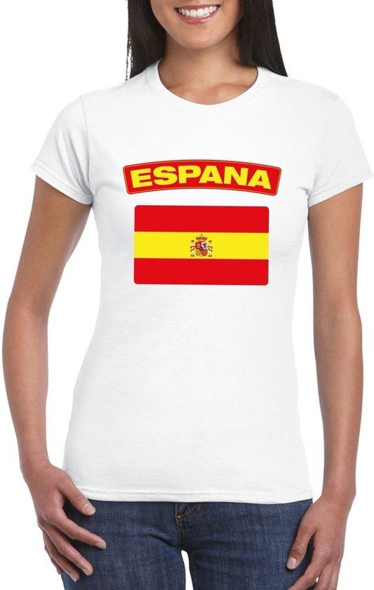 T-shirt met Spaanse vlag wit dames XL