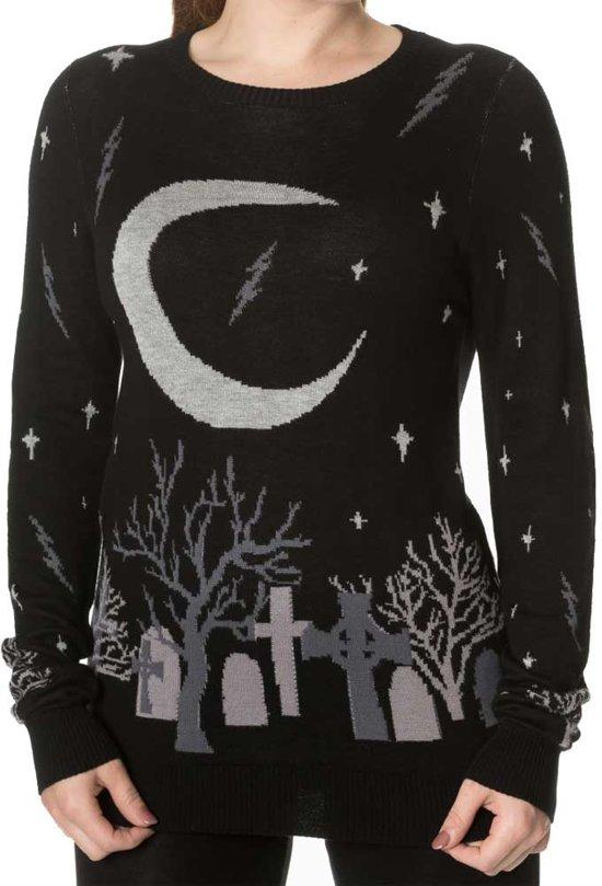 Moon gebreide dames trui met Halloween kerkhof print zwart - Gothic Metal Horror - M - Banned