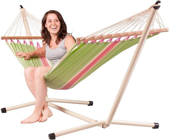 Hangmatset: 1-persoons hangmat met spreidstok FRUTA kiwi  + Standaard voor 1-persoons hangmat NEPTUNO