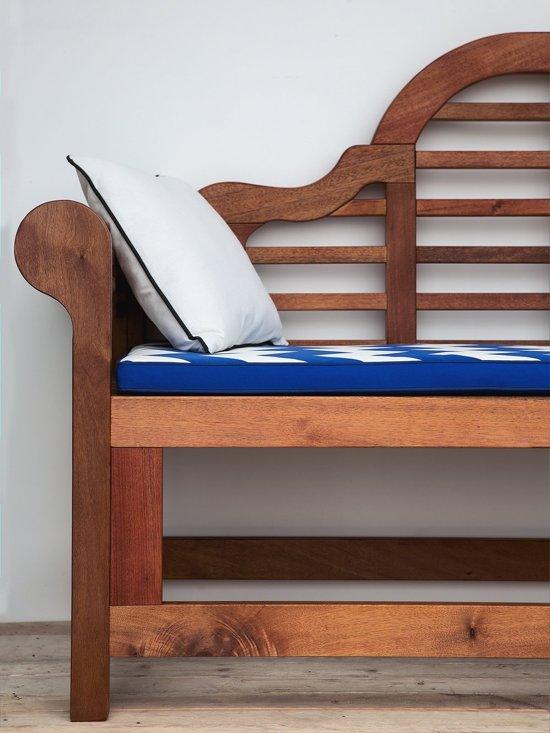 Beliani Tuinbank blauw kussen met zigzag patroon TOSCANA MARLBORO