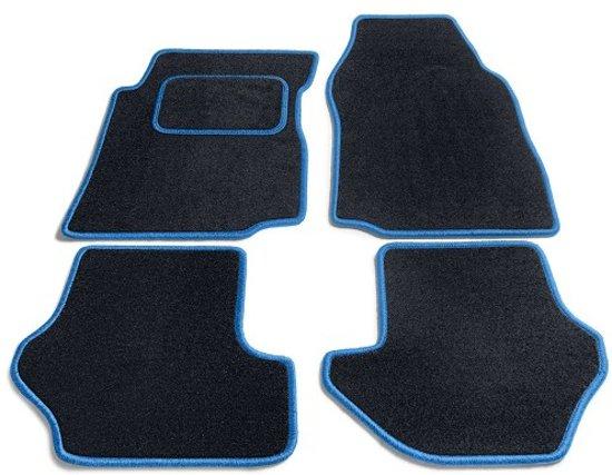 PK Automotive Complete Velours Automatten Zwart Met Lichtblauwe Rand Fiat Panda 2012-2015