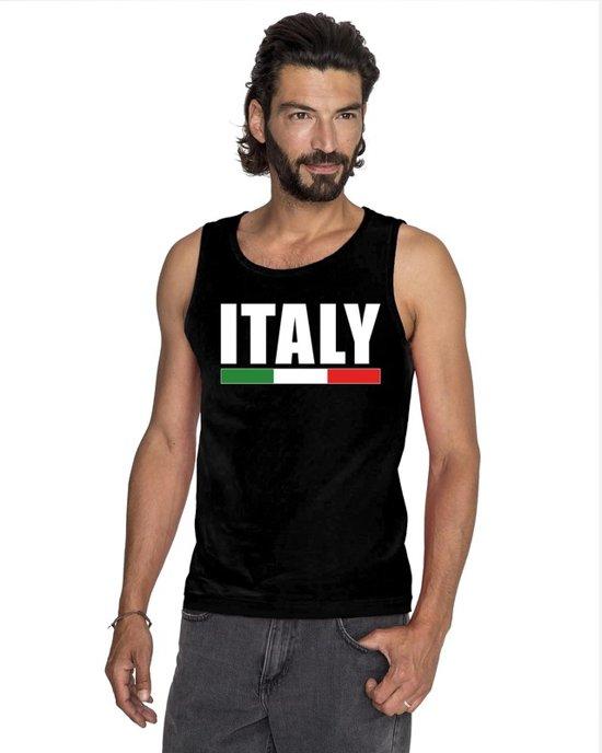 Zwart Italy supporter mouwloos shirt heren - Italie singlet shirt/ tanktop XL