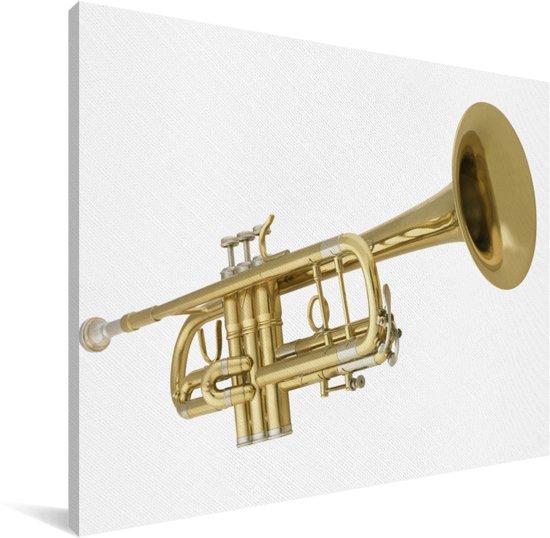 Een prachtige gouden trompet op een witte achtergrond Canvas 40x30 cm - klein - Foto print op Canvas schilderij (Wanddecoratie woonkamer / slaapkamer)