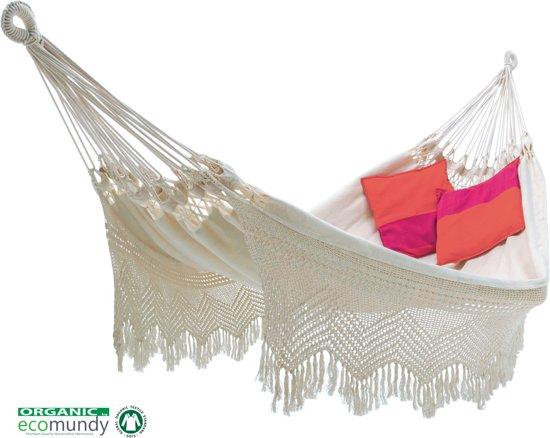 Ecomundy Elegance XL BIO - Handgeweven Hangmat met franje - Biologisch katoen - 160x240x380cm