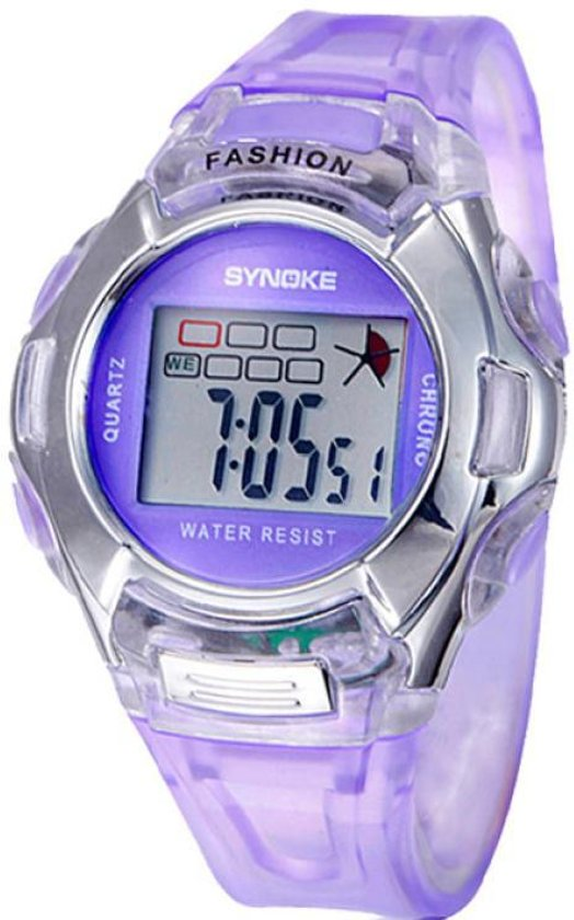 Synoke - Horloge - Siliconen - 38 mm - Paars