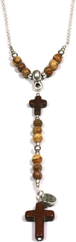 Heaven Eleven - heren ketting -  ballchain stainless staal - jaspis stenen - bruin kruis - 74cm