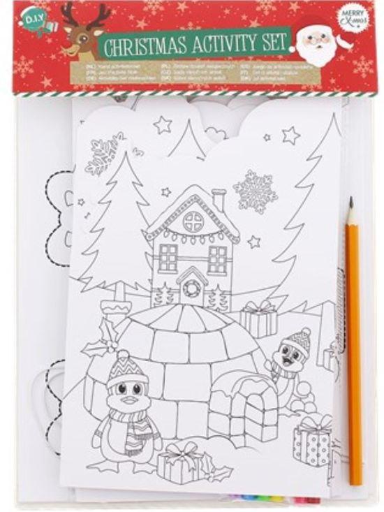 Kerst Kleurplaten Zoeken.Kerst Kleurplaten En Knutsel Activiteitenset Met 6 Stiften En Potlood