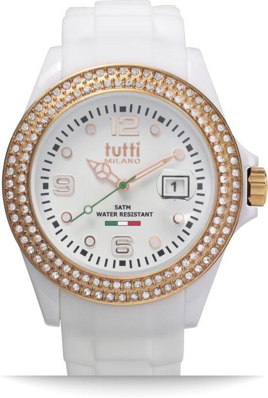 Tutti Milano TM003WH-RO-Z- Horloge -  42.5 mm - Wit - Collectie Cristallo