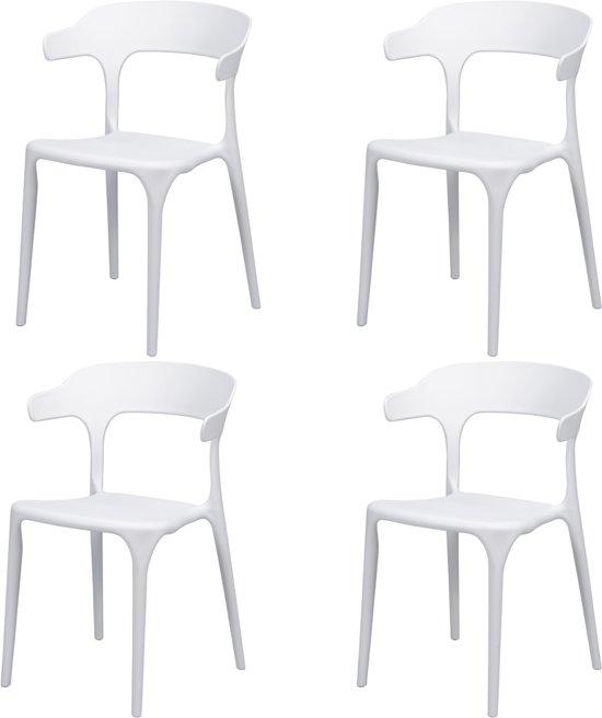 DS4U Nicky - eetkamer wit - terrasstoel wit - set van 4