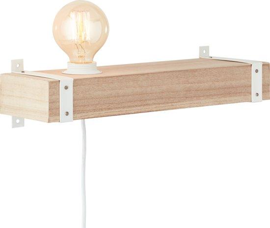 Wandlamp Whitewood 1-lichts hout/wit