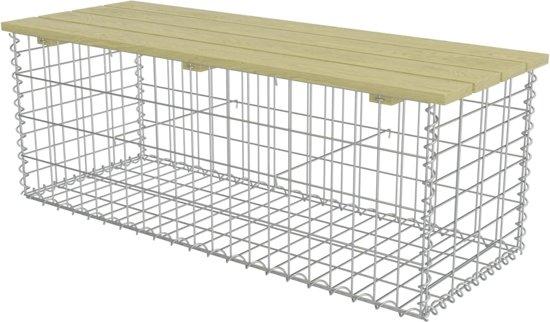 vidaXL Gabion bank 120 cm gegalvaniseerd staal en FSC grenenhout