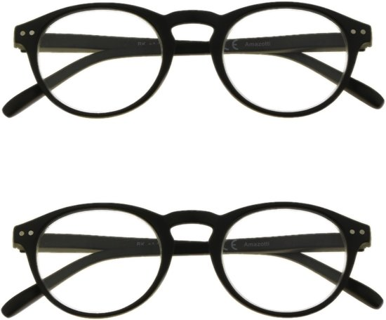 Amazotti Set van 2 Retro Leesbril – zwart – sterkte +1.50
