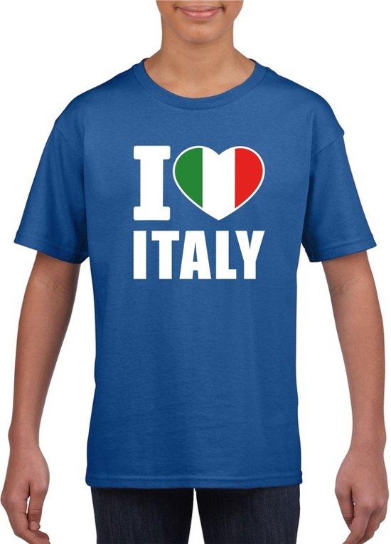 Blauw I love Italy supporter shirt kinderen - Italie shirt jongens en meisjes M (134-140)