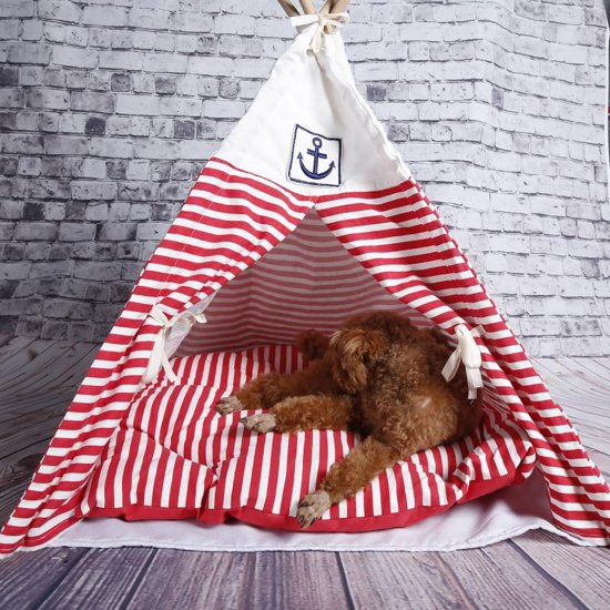 4animalz tipi tent XL - hond/kat - 60x60x84 cm – rood/wit