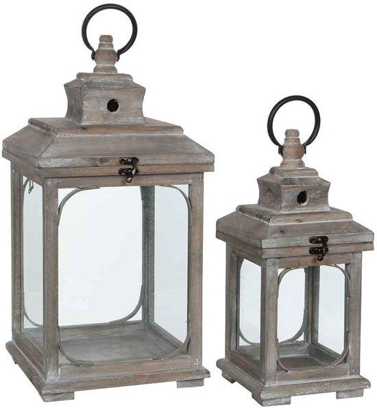 Mica Decorations lantaarn bruin set van 2 grootste maat in cm: 24 x 24 x 48