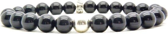 Beaddhism - Armband - Black - Silver Bead - 8 mm - 19 cm
