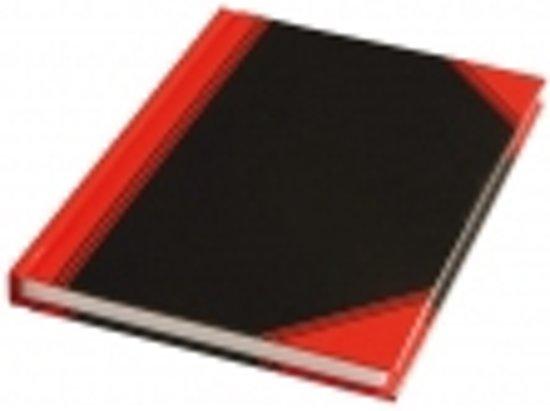Notitieboek zwart/rood A7 lijn 60gr 96vel