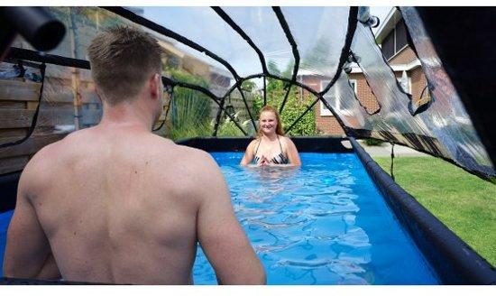 EXIT zwembad Wood 400x200cm met overkapping en zandfilterpomp - bruin