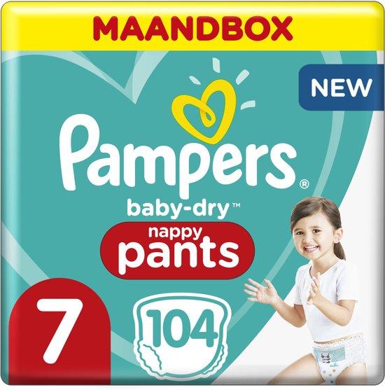 Pampers Baby-Dry Pants Maat 7 (17kg+) 104 Luierbroekjes - Maandbox